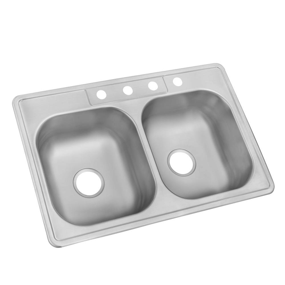 Glacier Bay Drop In Stainless Steel 33 4 Hole Double Bowl Kitchen Sink Hddb332284 The Home Depot
