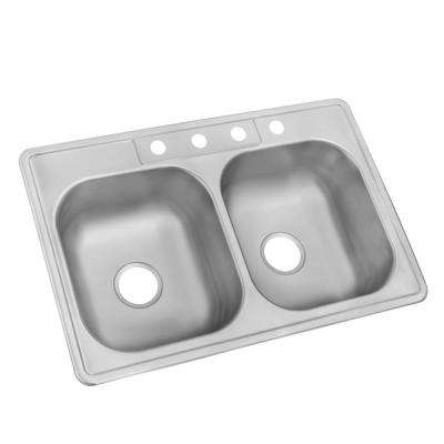 Drop-In Stainless Steel 33 in. 4-Hole Double Basin Kitchen Sink