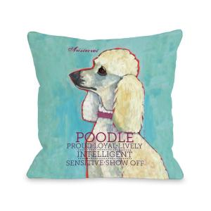 Poodle Blue Multicolored Graphic Polyester 16 in. x 16 in. Throw Pillow