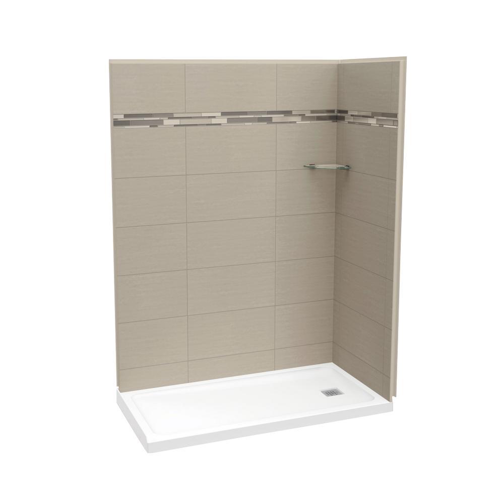 Utile Origin 32 in. x 60 in. x 83.5 in. Corner Shower Stall in Greige with Right Drain Base in White
