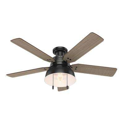 Mill Valley 52 in. LED Indoor/Outdoor Low Profile Matte Black Ceiling Fan with Light