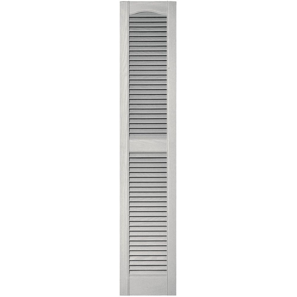 Builders Edge 12 In X 60 In Louvered Vinyl Exterior Shutters Pair In 030 Paintable