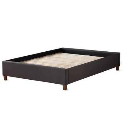 Ava Charcoal Queen Upholstered Platform Bed with Slats