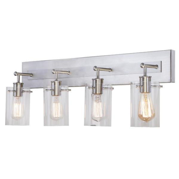 Hampton Bay Regan 29 13 In 4 Light Brushed Nickel Bathroom Vanity Light With Clear Glass Shades Ds19074 The Home Depot