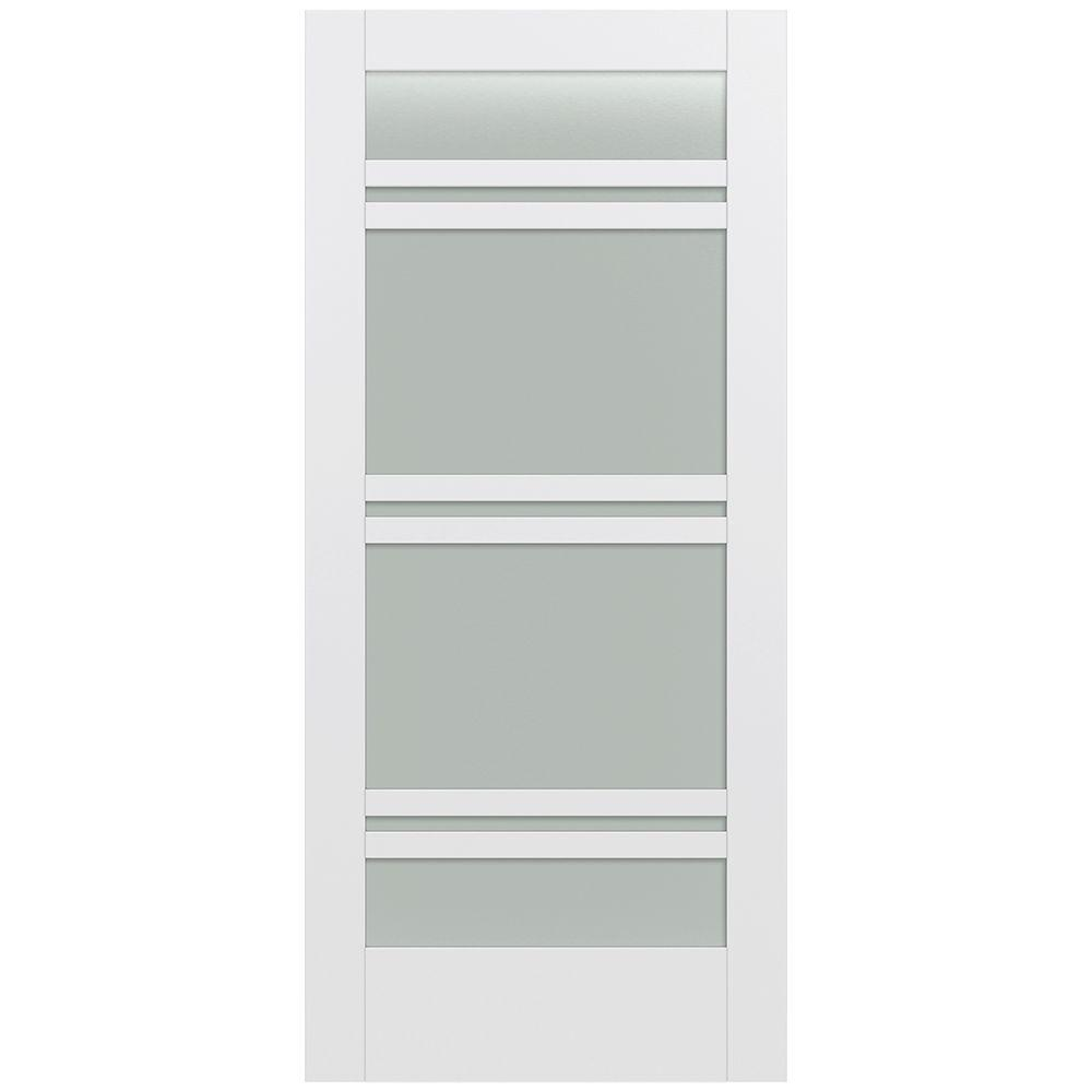 Jeld-Wen 36 in. x 80 in. Moda Primed PMT1071 Solid Core Wood Interior Door Slab w/Translucent Glass