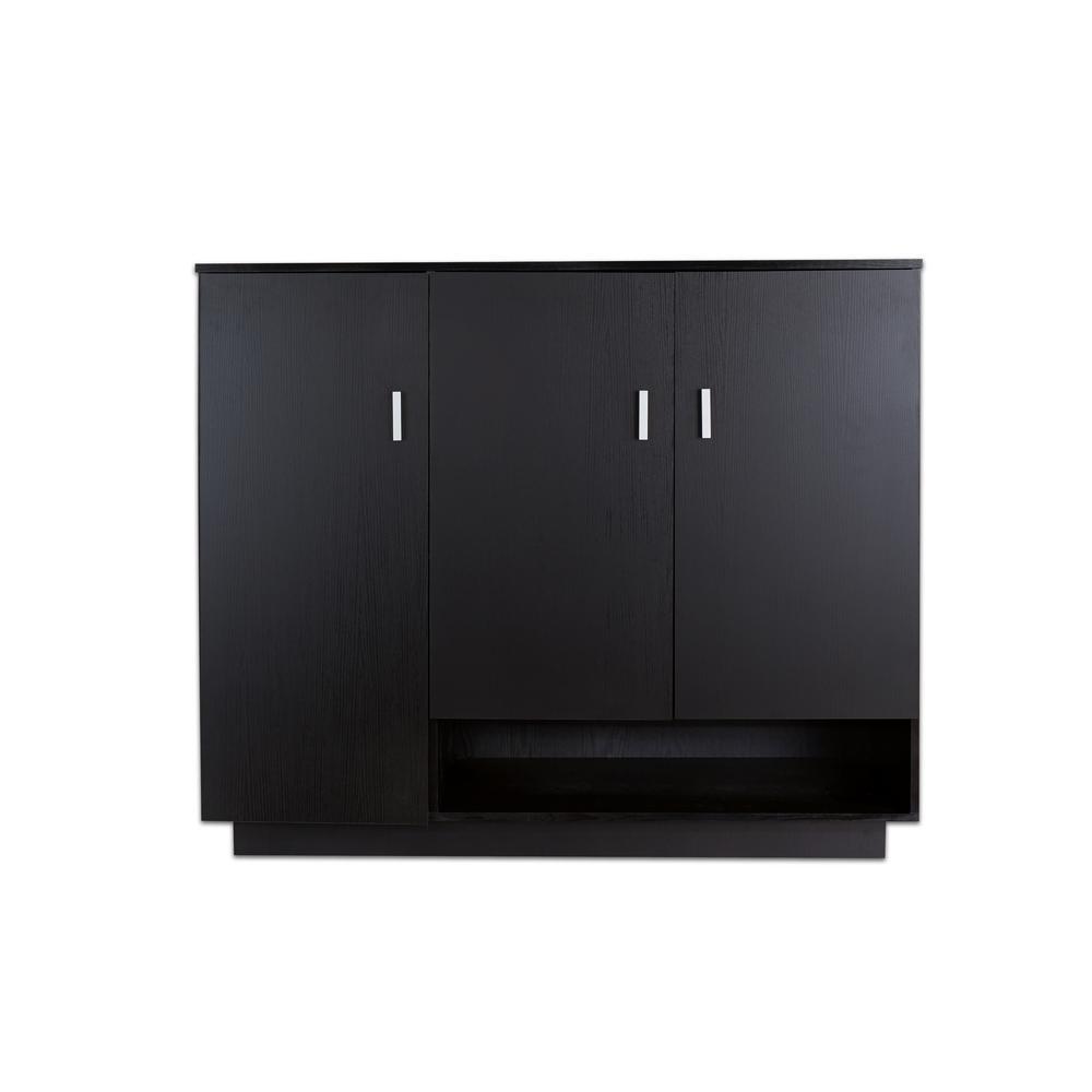 Furniture of America Merin Black Shoe Cabinet