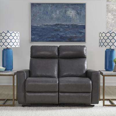 Nuovo Gray Leather Power Motion Reclining Love Seat