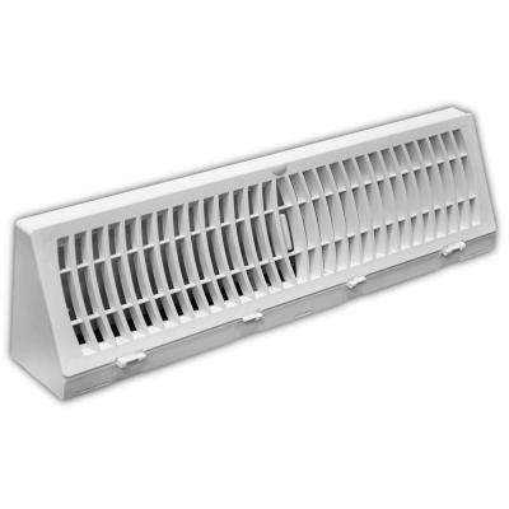 18 in. White Plastic Baseboard Diffuser Supply