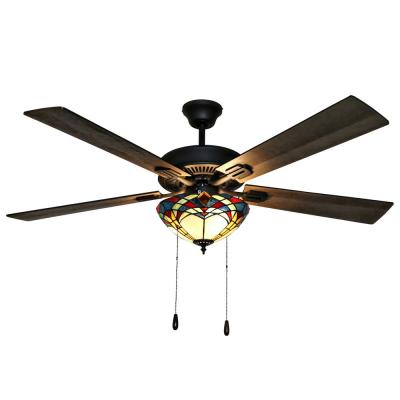 Braxton Mission 52 in. Stained Glass LED Ceiling Fan With Light