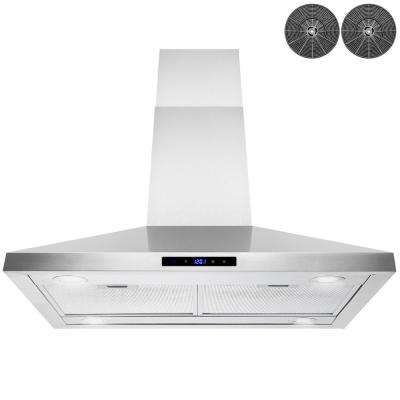 36 in. Convertible Island Mount Stainless Steel Range Hood with LED Lights, Touch Control and Carbon Filters