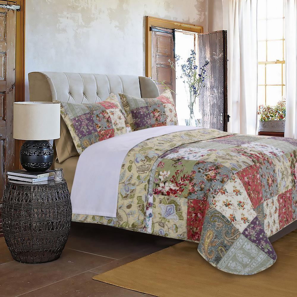 Blooming Prairie 3-Piece Multi King Quilt Set