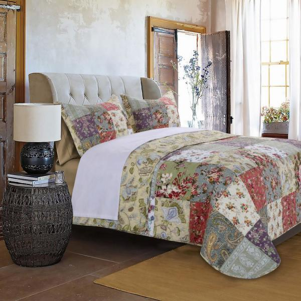 Greenland Home Fashions Blooming Prairie 3-Piece Multi King Quilt Set