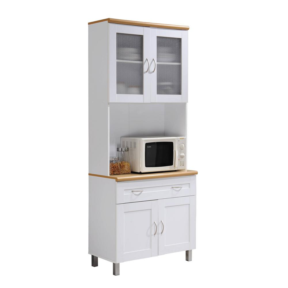 Hodedah China Cabinet White With Microwave Shelf
