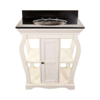 Vineta 30 in. Vanity in Antique White with Undermount Granite Vanity Top in Black