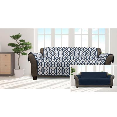 Ashmont Navy Home Reversible Waterproof Microfiber Sofa Cover