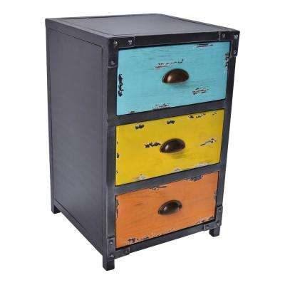 Goff Industrial Grey 3-Drawer End Table