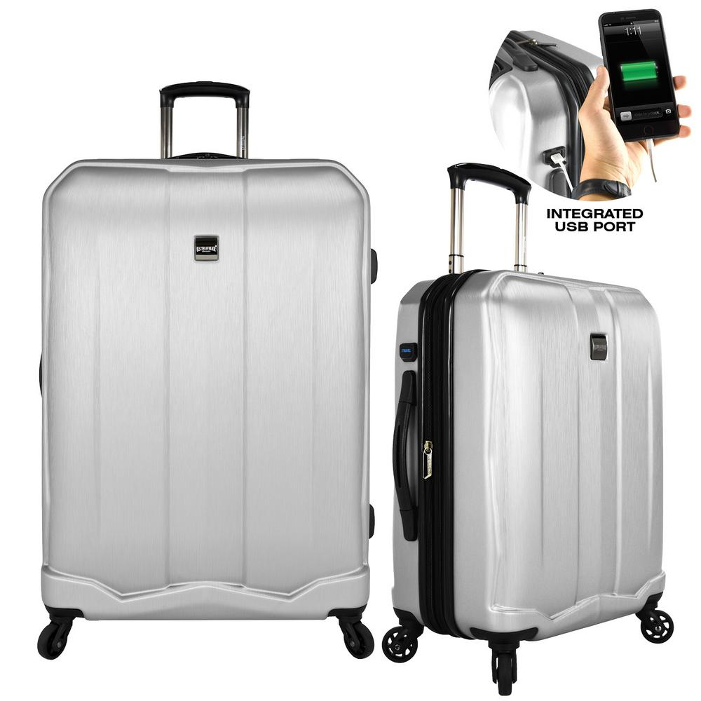 U S Traveler Piazza 2 Piece Smart Spinner Luggage Set