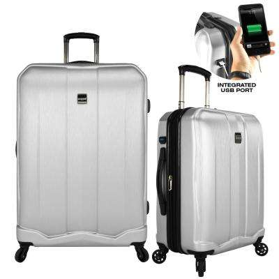 Piazza 2-Piece Smart Spinner Luggage Set, Silver