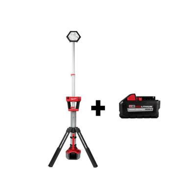 M18 18-Volt Lithium-Ion Cordless Rocket Dual Power Tower Light with HIGH OUTPUT XC 8.0 Ah Battery