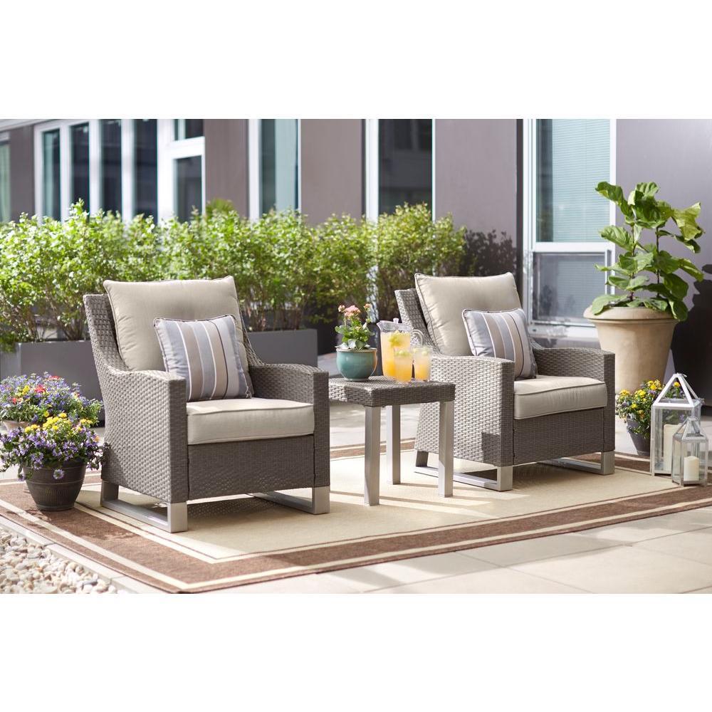 Hampton Bay Broadview 3-Piece Gray Resin Wicker Patio Seating Set with Sunbrella... by Hampton Bay