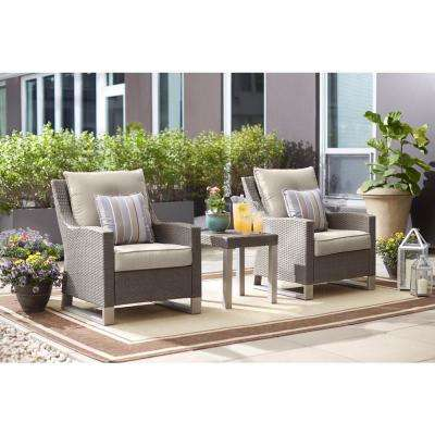 Broadview 3-Piece Gray Resin Wicker Patio Seating Set with Sunbrella Spectrum Dove Cushions
