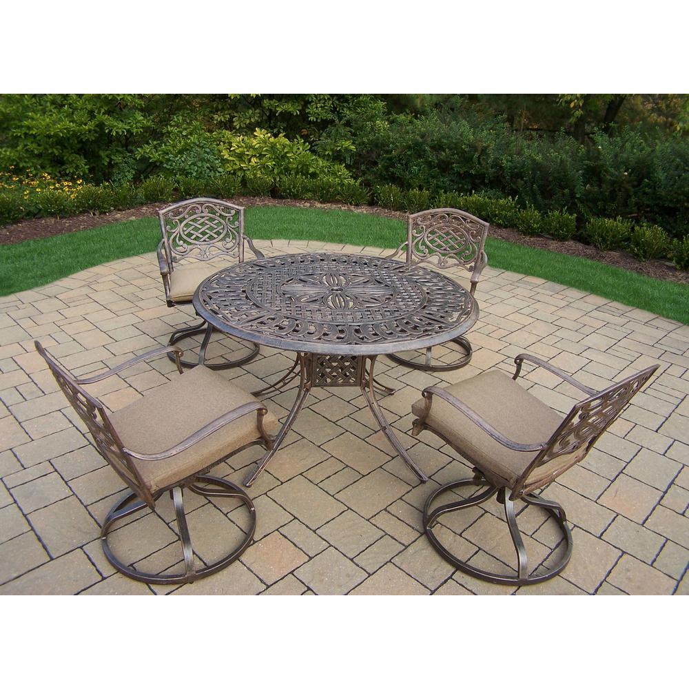 Capitol 5-Piece Aluminum Outdoor Dining Set with Sunbrella Beige Cushions