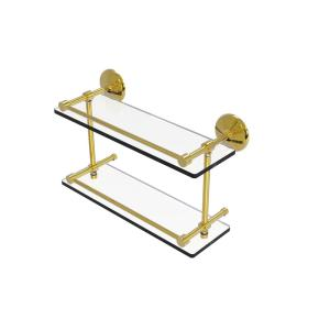 Allied Brass WP-1-18-GAL-UNL Waverly Place 18 Inch Floating Glass Shelf with Gallery Rail Unlacquered Brass