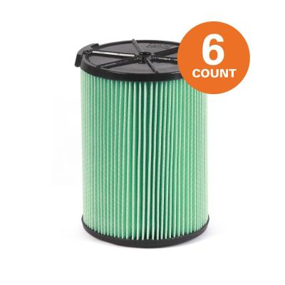 5-Layer HEPA Material Pleated Paper Filter for Most 5 Gal. and Larger RIDGID Wet/Dry Shop Vacuums (6-Pack)