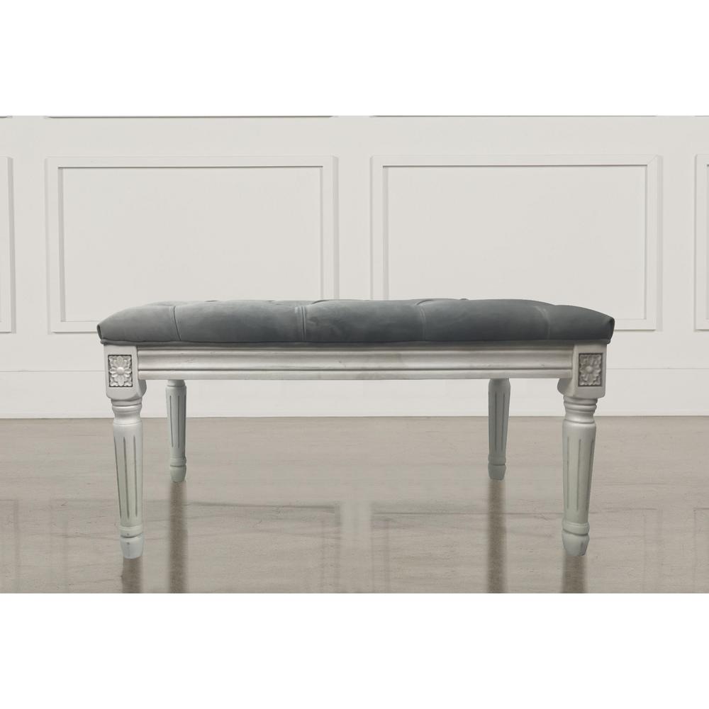 grey velvet french bench