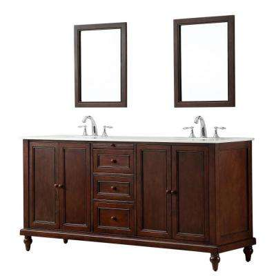 Classic 70 in. Double Vanity in Dark Brown with Marble Vanity Top in White Mirrors