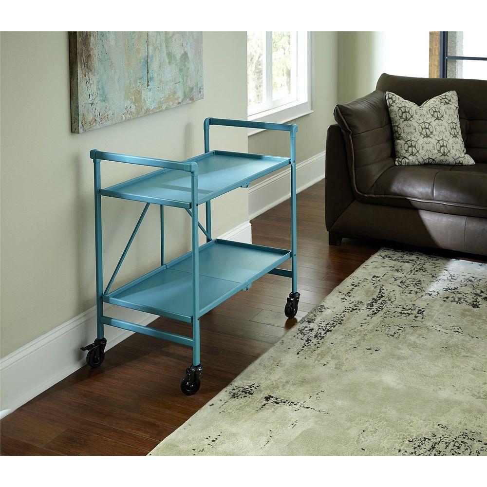 Cosco Smartfold Teal Serving Cart-87602TEA1E - The Home Depot
