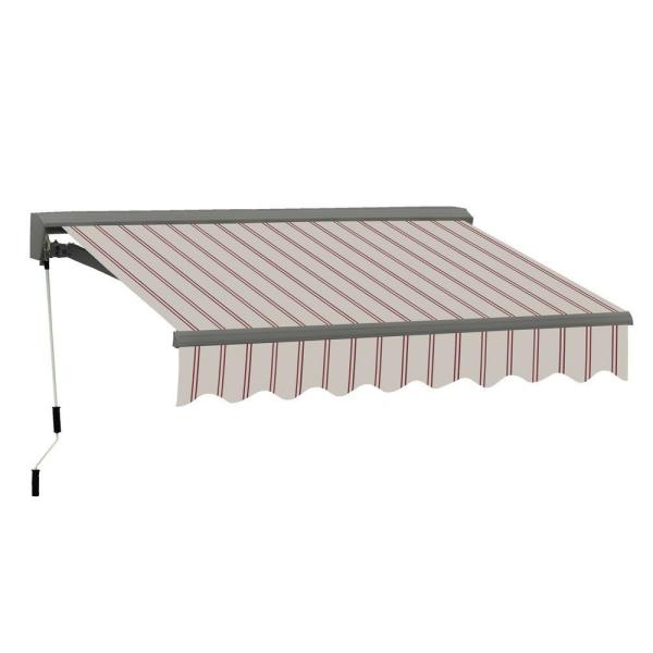 12 ft. Classic C Series Semi-Cassette Electric w/ Remote Retractable Patio Awning (118 in. Projection) Beige/Red Stripes