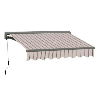 16 ft. Classic C Series Semi-Cassette Electric w/ Remote Retractable Patio Awning (118 in. Projection) Beige/Red Stripes