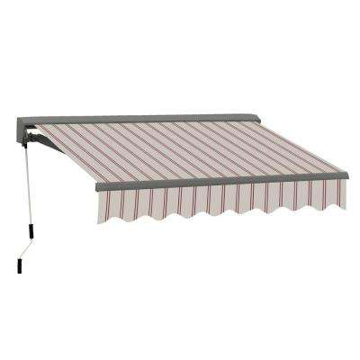 8ft. Classic C Series Semi-Cassette Electric with Remote Retractable Patio Awning(79in. Projection) in Beige/Red Stripes