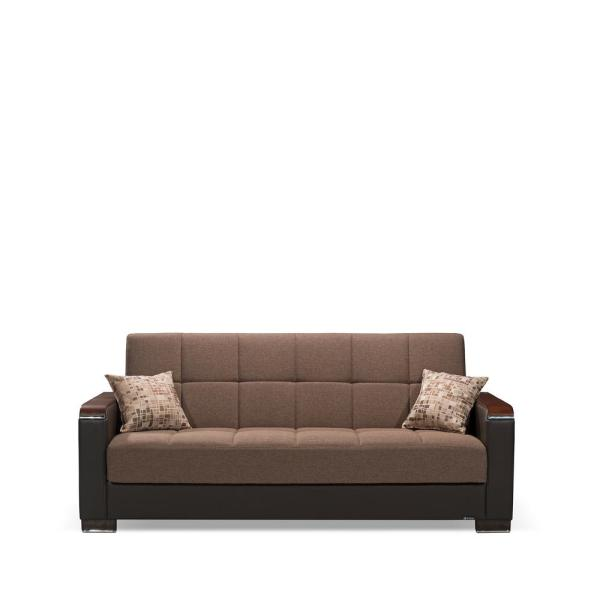 Armada 88 in. Brown/Black Chenille 3-Seater Full Sleeper Convertible Sofa Bed with Storage