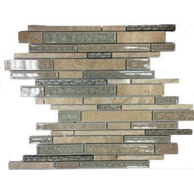 Olive Branch 11-3/4 in. x 11-3/4 in. x 10 mm Travertine Glass and Stone Mosaic Tile