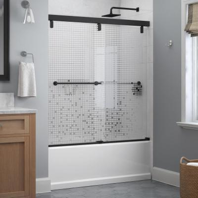 Lyndall 60 x 59-1/4 in. Frameless Mod Soft-Close Sliding Bathtub Door in Matte Black with 1/4 in. (6 mm) Mozaic Glass