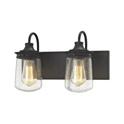 Hamel 2-Light Oil Rubbed Bronze with Clear Seedy Glass Bath Light