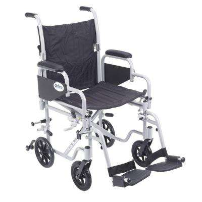 18 in. Poly Fly Transport Wheelchair with Swing Away Footrest