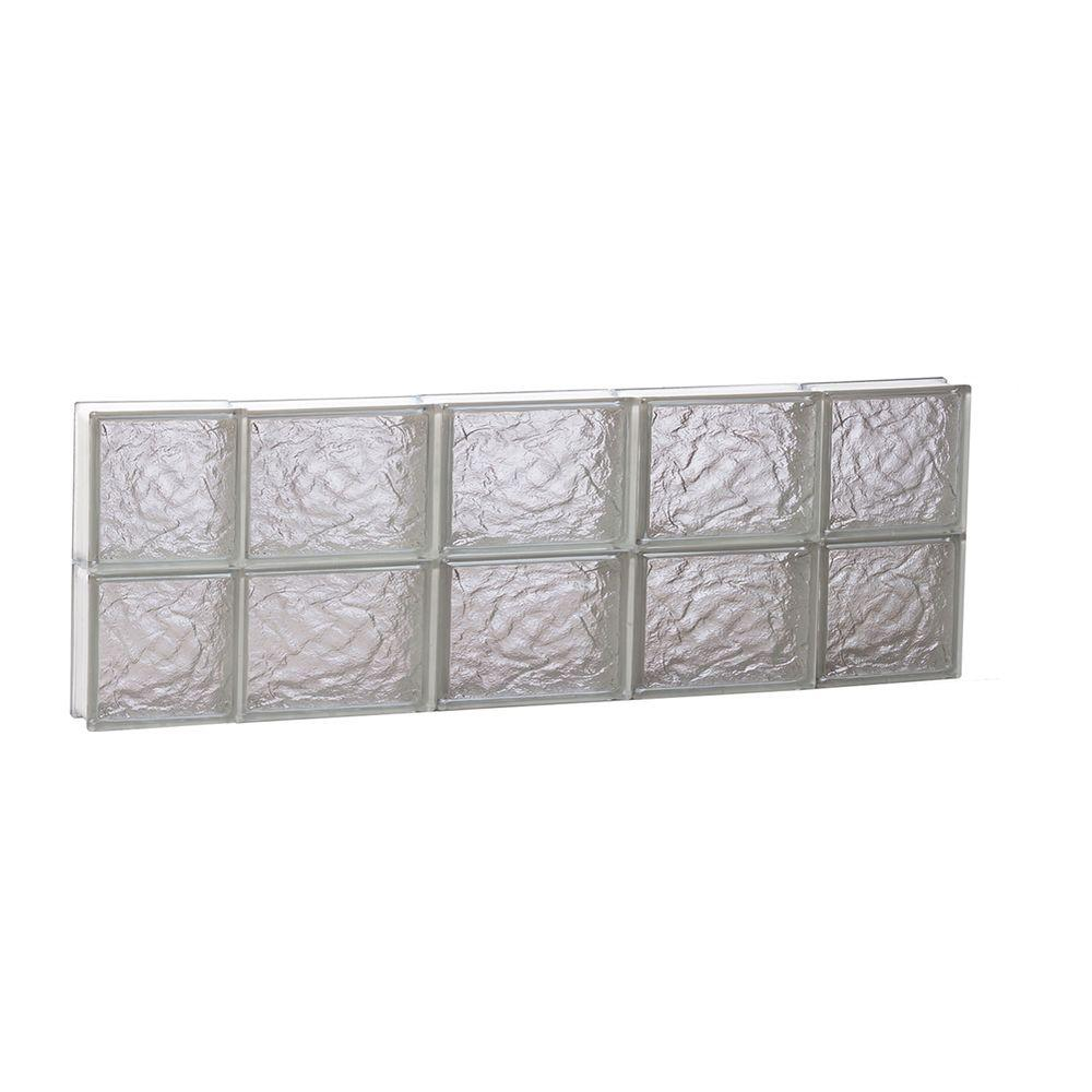Clearly Secure 34.75 in. x 11.5 in. x 3.125 in. Frameless Ice Pattern Non-Vented Glass Block Window