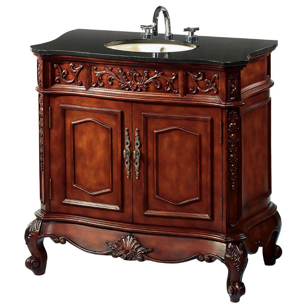 Home Decorators Collection Winslow 33 in. W x 20.5 in. D Vanity in Antique Cherry with Granite Vanity Top in Black
