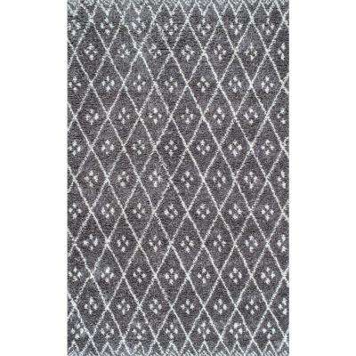 Alise Diamond Trellis Shag Grey 7 ft. 6 in. x 9 ft. 6 in. Area Rug