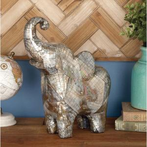 13 inch x 11 inch Decorative Elephant Sculpture in Shell Inlaid Polystone by