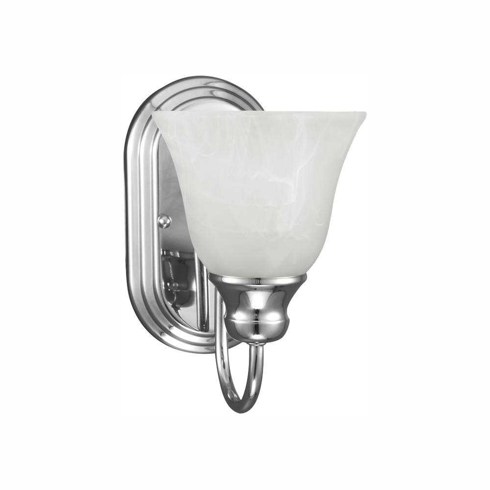 Sea Gull Lighting Windgate 1-Light Chrome Sconce with LED Bulb