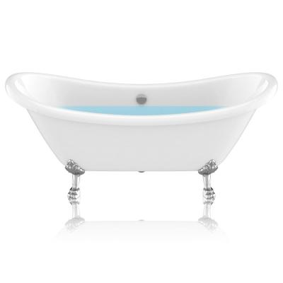 Belissima 69.29 in. Acrylic Double Slipper Clawfoot Non-Whirlpool Bathtub in White with Chrome Lion's Paw Feet