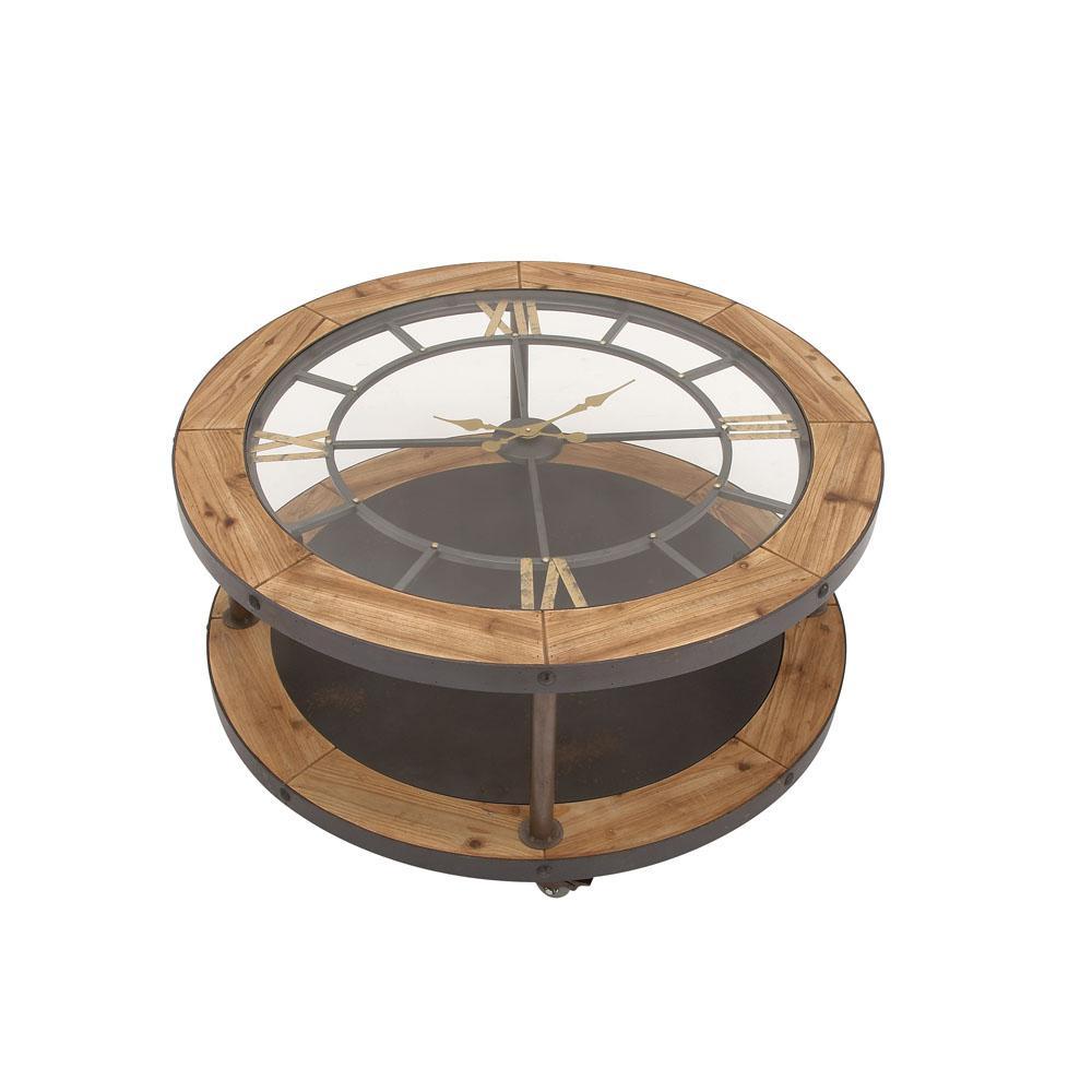 Litton Lane Brown Clock Face Coffee Table