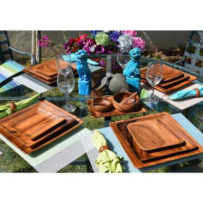 12-Piece Wooden Oval Serving Tray Set with Serving Bowls and Spoons