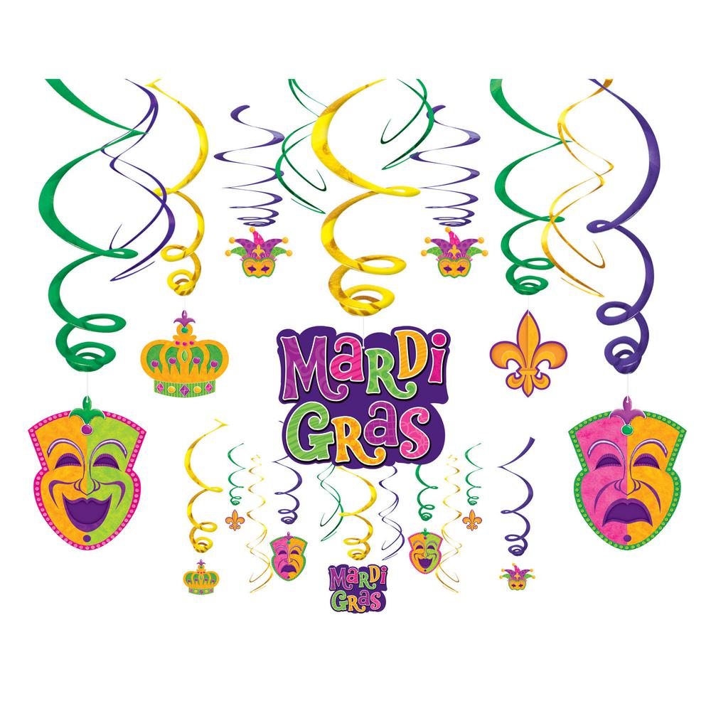 Amscan 17 5 in  Mardi Gras Foil and Paper Swirl Decoration Assortment  (30-Count, 2-Pack)