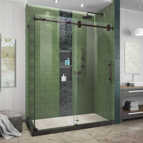 Enigma-XO 50 to 54 in. W x 76 in. H Frameless Sliding Shower Door in Oil Rubbed Bronze