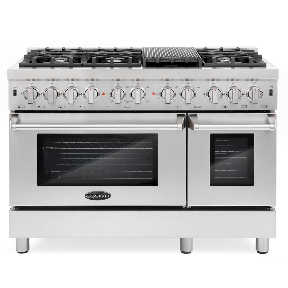 Cosmo Commercial-Style 48 in. 5.8 cu. ft. Double Oven Dual Fuel Range with  6 Sealed Burners in Stainless Steel